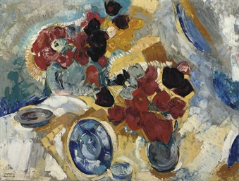 A still life with red flowers