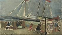 Beach scene with sailing boats