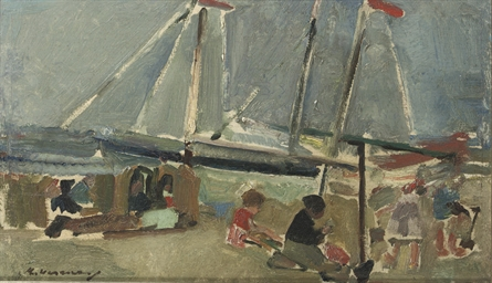 Beach scene with sailing boats