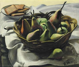 A still life with pears in a b
