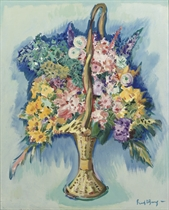 Flowerpiece in a handbasket