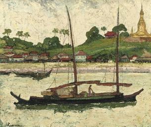 Yangon River with the Shwedago