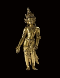 A gilt copper figure of Bodhis