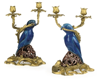 A PAIR OF ORMOLU-MOUNTED TURQU