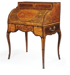 A GEORGE III SATINWOOD, MAHOGA