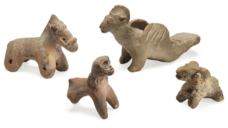 A group of four terracotta ani