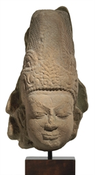 A stone head of Shiva