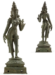 A bronze figure of Sri-Lakshmi