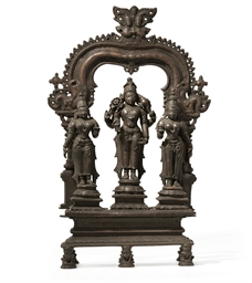 A bronze triad of Vishnu