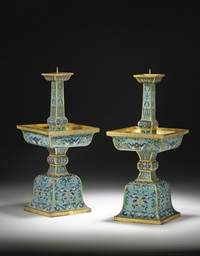 A PAIR OF CLOISONNE ENAMEL FAC