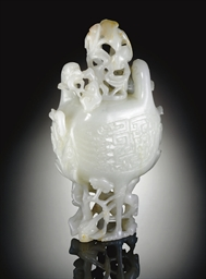 A WHITE JADE DOUBLE-BIRD-FORM