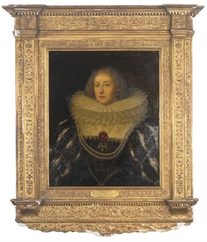 Portrait of Henriette de Joyeuse, bust-length, in a black and gold dress with white lace collar and pearls