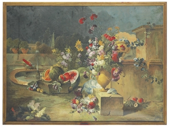 Flowers and fruit with a parro