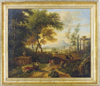 A hunting scene in a wooded valley