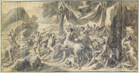 The battle of the Lapiths and Centaurs; and a companion drawing of Europa and the Bull