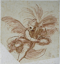 A putto holding palms and a wr