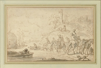 A party on horseback crossing a river (recto); Studies of a horse's head and two figures (verso)