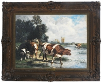 Cows drinking in a river landscape