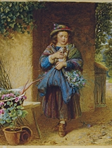 A young girl holding a rabbit and carrying flowers