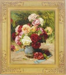 Still life of a vase of roses
