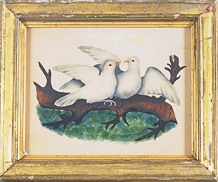Two doves on a branch; and fou