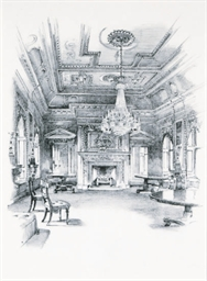 The interior of a church; and