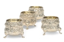 A PAIR OF VICTORIAN SILVER SALT CELLARS AND A MODERN MATCHING PAIR,