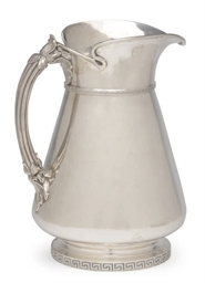 AN AMERICAN SILVER PITCHER,