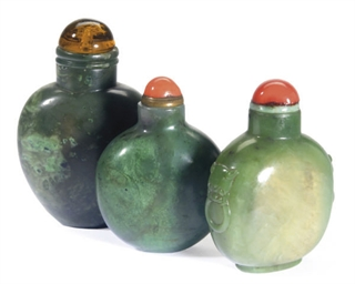 THREE SPINACH-GREEN JADE SNUFF