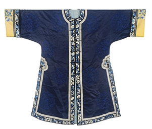 A CHINESE EMBROIDERED BLUE SAT