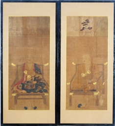 A PAIR OF SCROLL FRAGMENTS OF