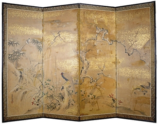 A JAPANESE FOUR-PANEL SCREEN W