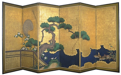 A JAPANESE SIX-PANEL SCREEN WI