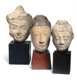 TWO THAI SANDSTONE HEADS OF BU
