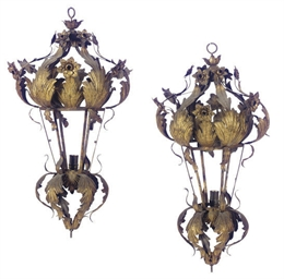 A PAIR OF GILT-METAL CHANDELIE