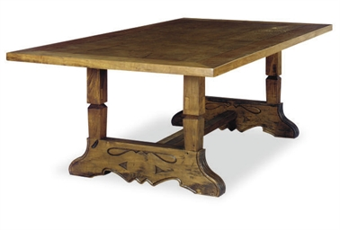 A WALNUT TRESTLE TABLE,