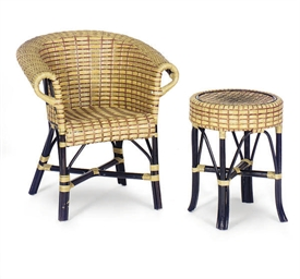 A SET OF FOUR WOVEN RATTAN AND