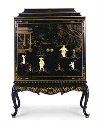 AN EBONIZED, PARCEL-GILT AND B