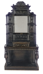 AN EBONIZED OAK HALL STAND,