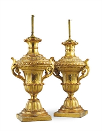 A PAIR OF ITALIAN GILTWOOD URN