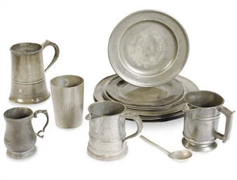 A GROUP OF PEWTER PLATES AND T