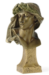 A PATINATED AND GILT-BRONZE BU