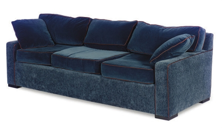 A BLUE-VELVET UPHOLSTERED SOFA