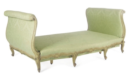 A GREEN PAINTED AND UPHOLSTERE