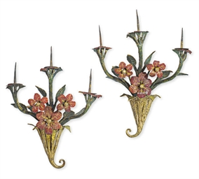 A PAIR OF CONTINENTAL ENAMELED