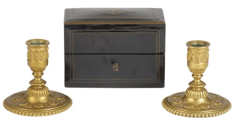 A FRENCH BRASS-INLAID BLACK-LA