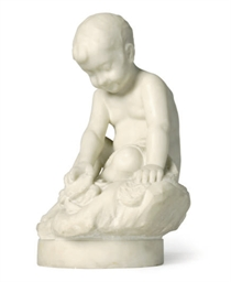 A MARBLE FIGURE OF A YOUNG BOY