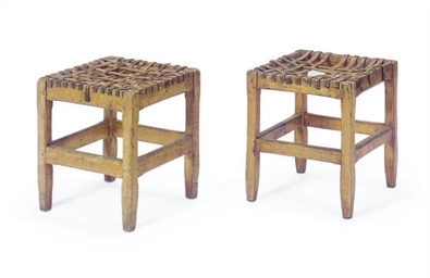 A PAIR OF FRUITWOOD AND LEATHE