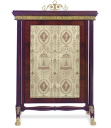 A FRENCH EMPIRE MAHOGANY FIRE