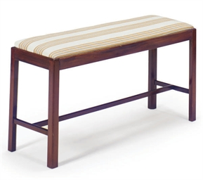 AN ENGLISH MAHOGANY BENCH,